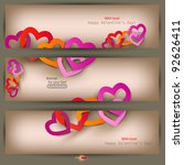 set of three banners with paper ... | Shutterstock .eps vector #92626411