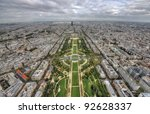 aerial wide view of Paris from Eiffel tower - stock photo