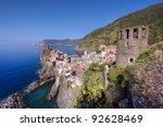 Vernazza village in Cinque Terre, Italy - stock photo