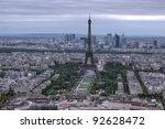 Eiffel Tower aerial view, Paris - stock photo