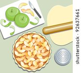 apple pie. elevated view of... | Shutterstock . vector #92637661