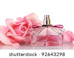 perfume bottle and pink rose... | Shutterstock . vector #92643298
