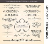 calligraphic elements and page... | Shutterstock .eps vector #92647684