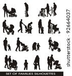 set of silhouettes families ...   Shutterstock .eps vector #92664037