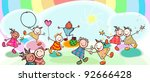 group of funny kids playing | Shutterstock .eps vector #92666428