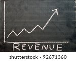 A chart shows the revenue progress of a company on a chalkboard. - stock photo
