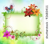 banner with flowers and... | Shutterstock .eps vector #92683411