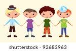 four cartoon boys. eps10.... | Shutterstock .eps vector #92683963