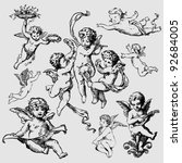 set of various angels or cupids. isolated