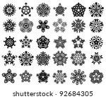snowflake silhouette set | Shutterstock . vector #92684305