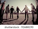 multiracial young people... | Shutterstock . vector #92688190