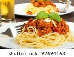 spaghetti bolognese with glass... | Shutterstock . vector #92694163