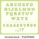 Baby green fabric alphabet - stock vector