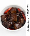Red-Braised Belly Pork - Chinese red-cooked pork belly on a white background - stock photo
