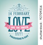 valentine's day type text... | Shutterstock .eps vector #92709316