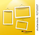 white frames on the yellow wall | Shutterstock .eps vector #92710537