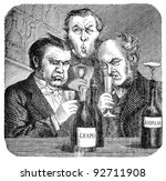 19th century wine snobs..... | Shutterstock . vector #92711908