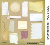 set of old grungy paper... | Shutterstock .eps vector #92714227