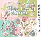 happy easter scrapbook set | Shutterstock .eps vector #92727868