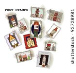 "post stamp collection ""houses"" 