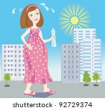 Illustration of expectant mother which hardly goes on a hot city - stock vector