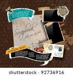 vintage scrapbook composition... | Shutterstock .eps vector #92736916