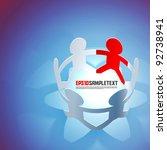 vector paper men teamwork   Shutterstock .eps vector #92738941