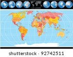 vector world map with globes | Shutterstock .eps vector #92742511