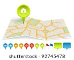 city map with labels. vector... | Shutterstock .eps vector #92745478