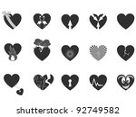 black loving heart icon - stock vector