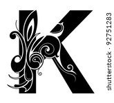 decorative letter shape. font k | Shutterstock .eps vector #92751283