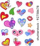 A Set Of Comic Hearts