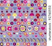 hearts, mushrooms & flowers pattern - stock vector