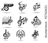 music notes. set of music... | Shutterstock .eps vector #92763421