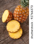 Yellow Ripe Pineapples Cut On...