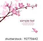 Stock vector card with stylized cherry blossom and text 92770642