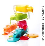 bottles with spilled nail... | Shutterstock . vector #92782543