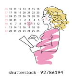 Picture of expectant mother on a background a calendar with the obvedenoy date of births - stock vector