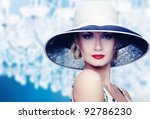 Woman In Hat On Vintage Crysta...