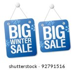 Big winter sale signs set. - stock vector