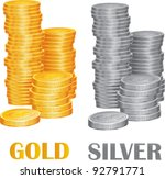Coins Gold And Silver Vector...