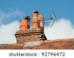 old clay chimney pots and brick ...