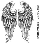 hand drawn angel wings | Shutterstock .eps vector #92799550