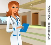 pretty young doctor in a... | Shutterstock .eps vector #92808532