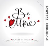 'be mine' hand lettering   hand ... | Shutterstock .eps vector #92812606