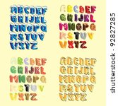 set of 3d cartoon hand lettered ... | Shutterstock .eps vector #92827285