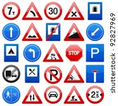 road signs set on a white... | Shutterstock .eps vector #92827969