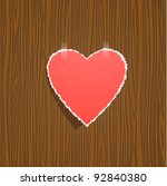 torn paper heart on wood... | Shutterstock .eps vector #92840380
