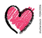 abstract pink heart  painted... | Shutterstock .eps vector #92842006