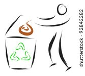 stylized man at recycle trash... | Shutterstock .eps vector #92842282